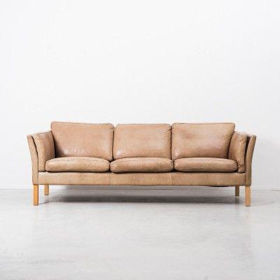 Three Seater Tan Leather Sofa Designed By Erik Jorgensen In The