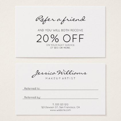 Minimalist Modern Referral Zazzle Com Business Hairstyles Esthetician Business Cards Business Cards Beauty