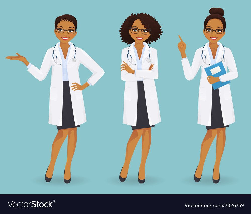 Set Of Three Female Doctors Royalty Free Vector Image Female Doctor Female Superhero Doctor Outfit