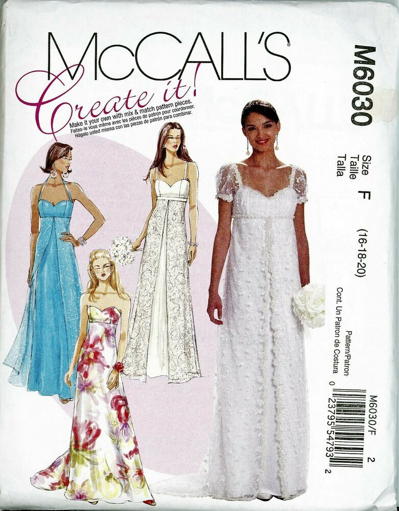 11b1ab30f50e0 Women's Special Occasion Bridal Dresses McCall's Pattern M6030 Sz 16-20  Uncut #McCalls