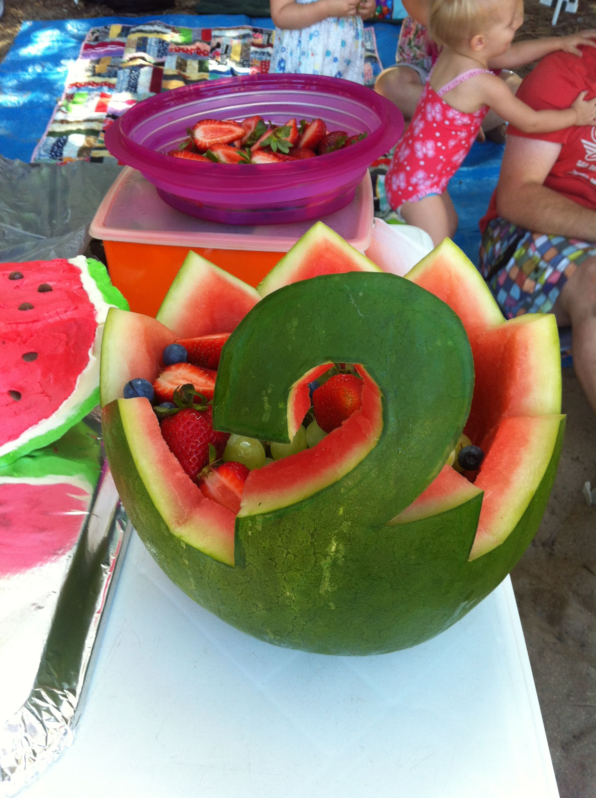 Hand Carved Watermelon Fruit Bowl Number 2 Birthday Parties