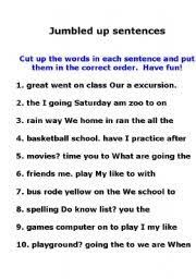 Image result for worksheets on jumbled sentences for grade 5 | a1 ...