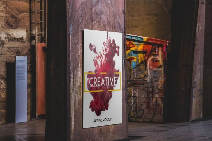 This High Resolution Free Psd Urban Poster Mockup Is The Best Way For Presenting Your Poster Design To Your Client Each And Every Detail In The Mockup Is Done