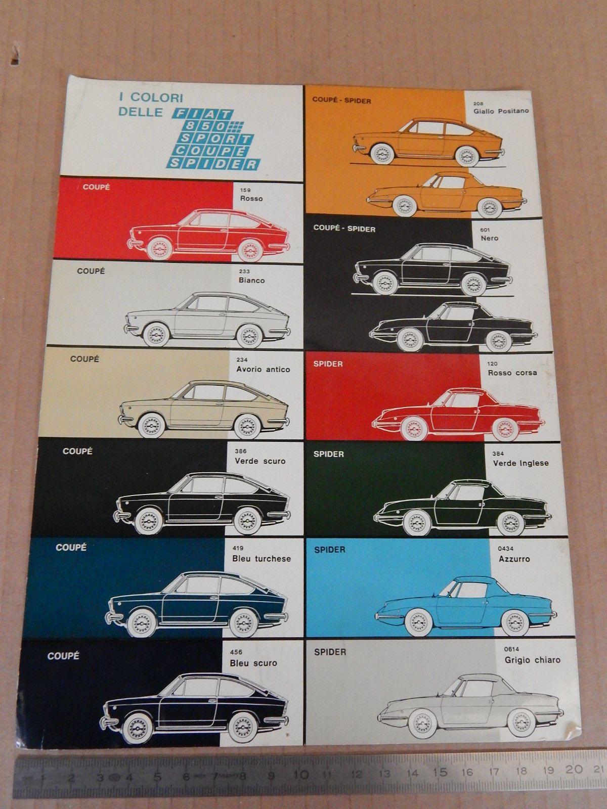 Tabella Colori 1968 Fiat 850 Sport Coupe E Spider Allegato