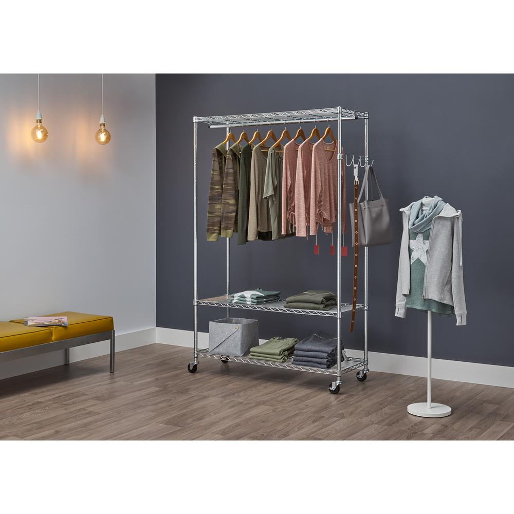 Trinity 48 in. x 75.5 in. 3 Tier EcoStorage Rolling Garment Rack