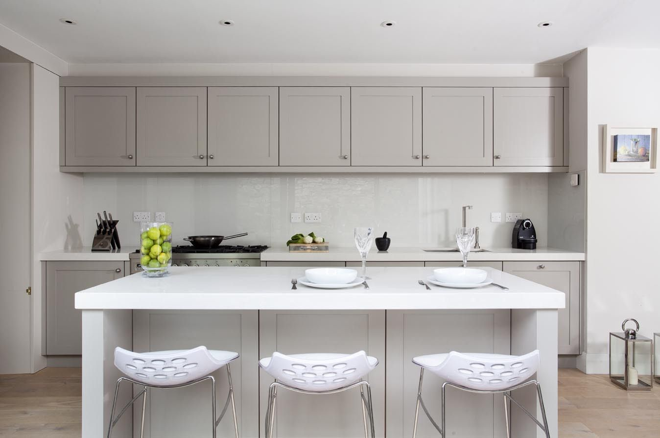 Shaker style french grey kitchens painted in french grey for Shaker style kitchen units