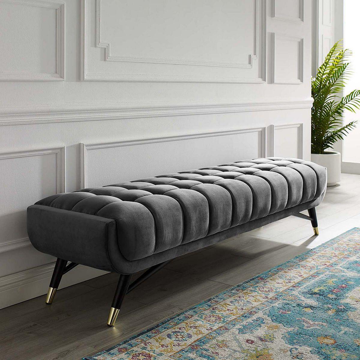 Modway Adept Upholstered Velvet Bench Upholstered Bench Living Room Bench Velvet Bench Living room upholstered bench