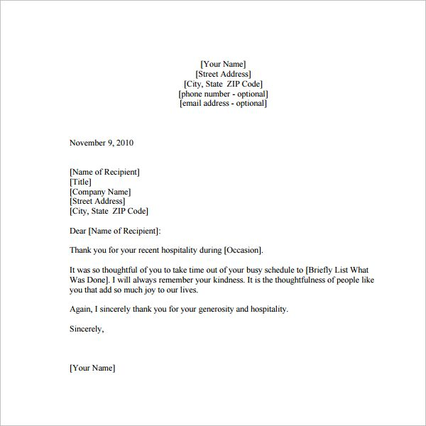 Hospitality Thank You Notes Template Letter  Home Design Idea