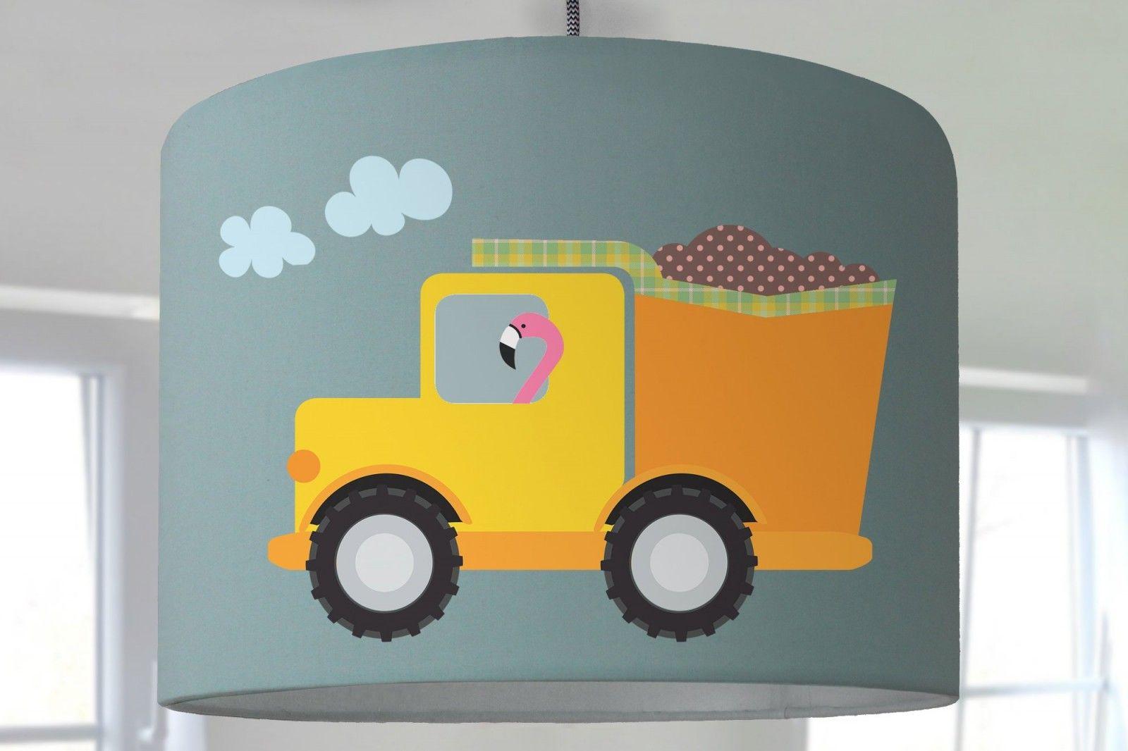 Lampenschirm Kinderzimmer Baustelle Autos Bagger Laster Fahrzeuge Kinderlampe Vogel Affe Fuchs Mint Lampenschirm Kinderzimmer Kinder Lampen Kinder Zimmer