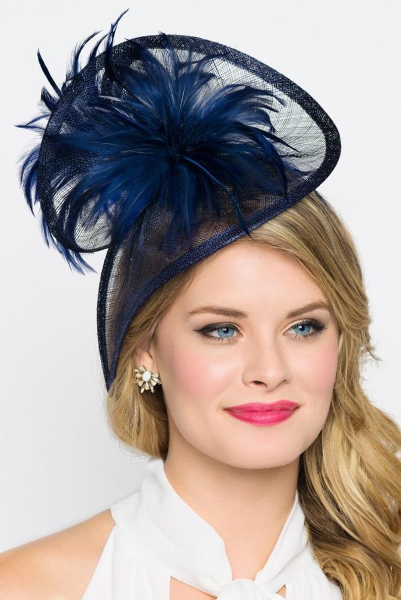 Navy Blue Twist Mesh Fascinator - Victoria Navy Blue Mesh Fascinator Hat Headband with Flighty Feathers