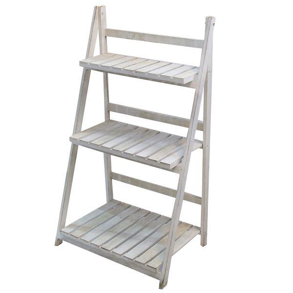 1 X White Wood Rustic Ladder Shelf