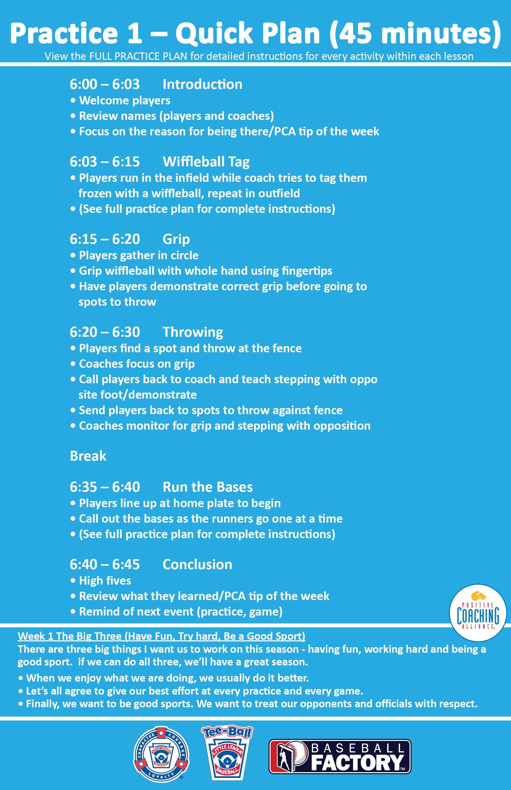 Week 1 Practice 1 Quick Plan 45 Minutes Littleleaguecoach