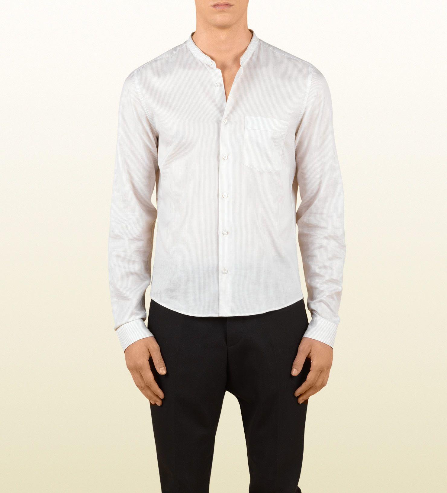 ee839b8eef902 Gucci men light beige twill stripe sport shirt 1