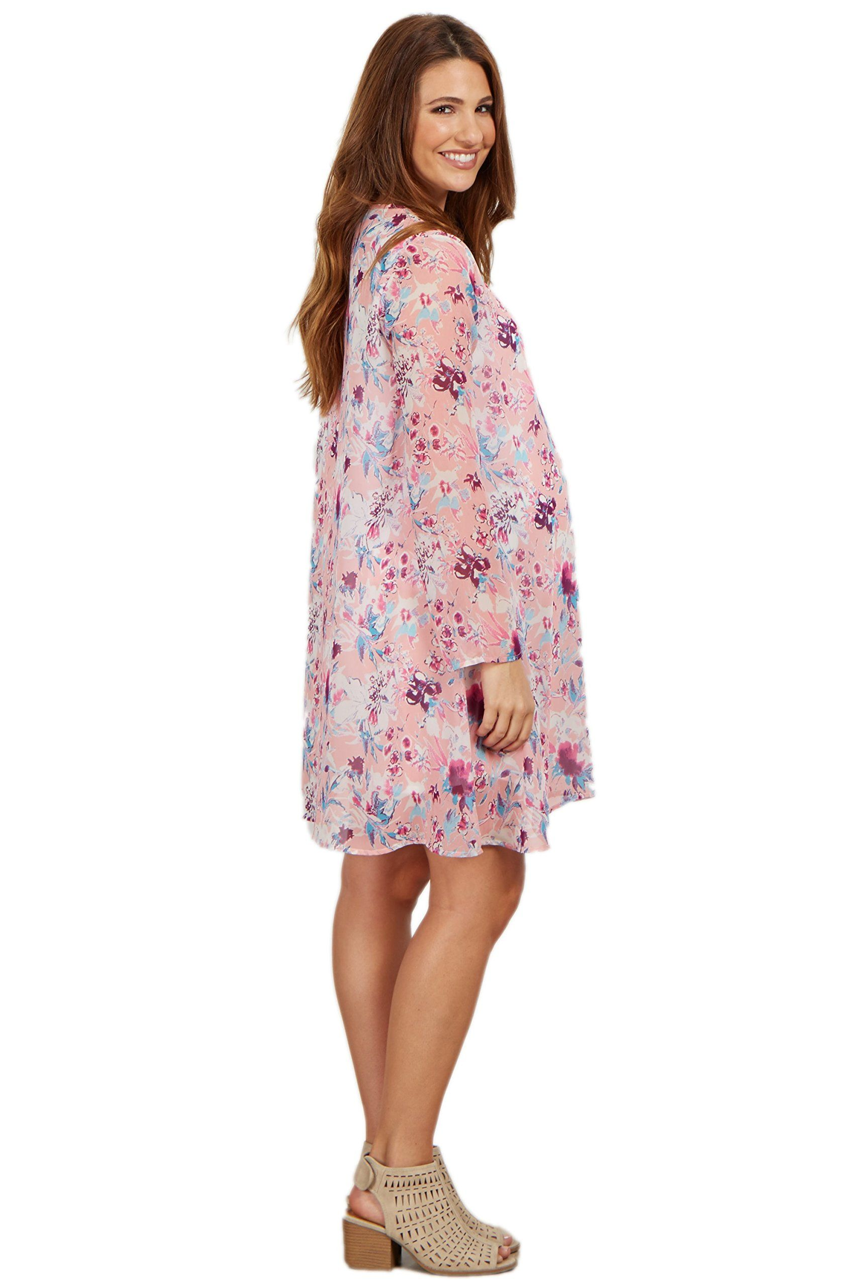 f13f28231330 Maternity Fashion - modest maternity dresses : PinkBlush Maternity Pink  Floral V Neck Chiffon Dress Medium ** Continue to the product at the image  link.