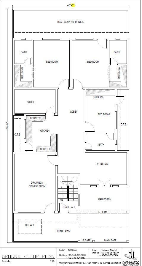 House Plan Drawing 40x80 Islamabad
