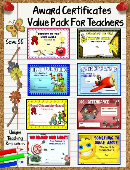 66 Printable Award Certificates Value Pack For School Teachers