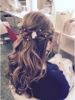 ヘアアンドメイク スタジオ ラプラス Hair Make Studio Raplus ハーフアップ キラキラパール 卒業式 髪型 卒業式 袴 髪型 結婚式 髪型