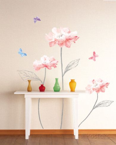 sketched stems and vibrant flowers wall decal | home decor and more