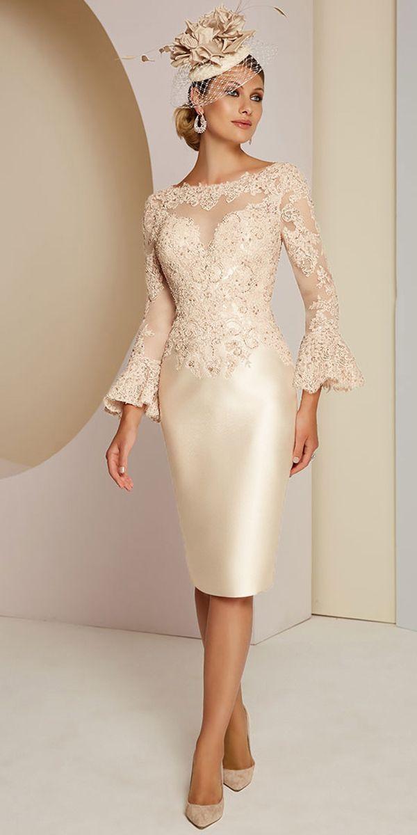 Gorgeous Tulle & Satin Bateau Neckline Sheath/Column Mother Of The Bride Dresses #spitzeapplique