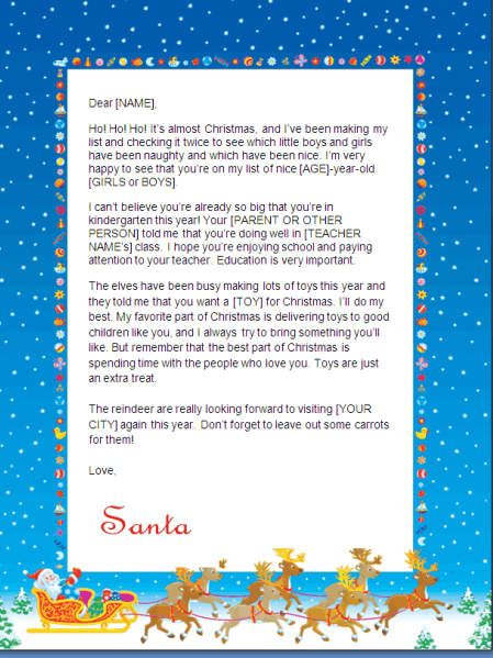 I wrote my own last year this year however i might just hit this fun santa letter to print at home comes with a colorful snowy background showing santa claus and his team of reindeer taking flight with a sleigh spiritdancerdesigns Images