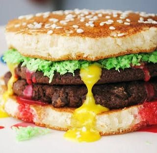 How about pancake burgers for breakfast? Indulge in the delicious combination of burger patties and lettuce in between pancakes!  #burger #pancake #pancakeart #foodie #foodgram #foodporn #instafood #instagood #healthy #pancakeburger #breakfast #breakfastdelight #kitchenlife #kitchenrecipe #kitchentools #kitchenadventures #delicious #yummy #food #lettuce #patties  Yummery - best recipes. Follow Us! #kitchentools #kitchen