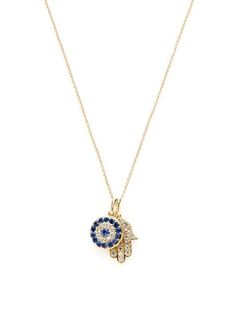 Solid 14k Rose Gold Hamsa Hand of Fatima with Evil Eye Charm Pendant Necklace