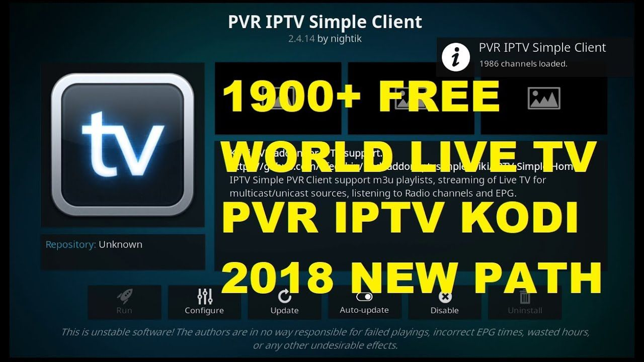 how to setup PVR IPTV Simple Client kodi 2018 with 1900+