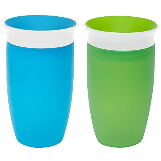 2 Count Kids Sippy Cup Green//Blue Munchkin Miracle 360 Sippy Cup 10 Ounce