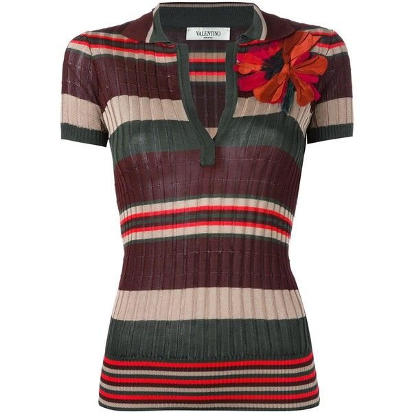 Valentino striped polo shirt ($1,060) ❤ liked on Polyvore featuring tops, multi color polo shirt, short sleeve tops, print polo shirts, striped polo shirts and flower polo shirt