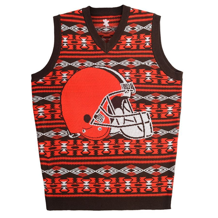 Cleveland Browns Aztec Print Ugly Sweater Vest from UglyTeams ...