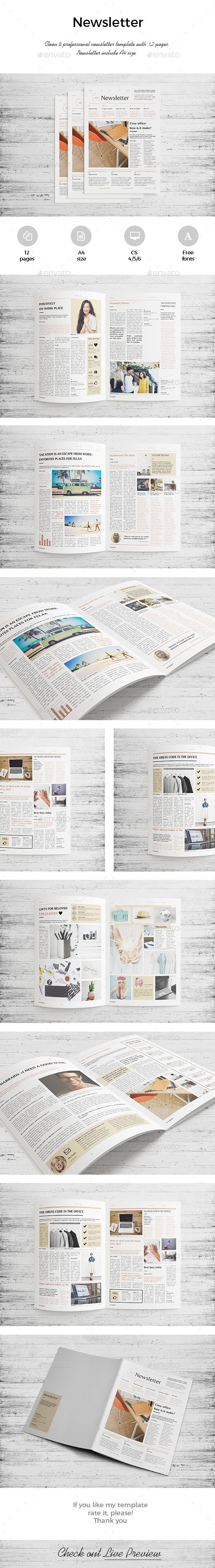 Newsletter Corporate Pages Pinterest Template Print - Pages newsletter templates