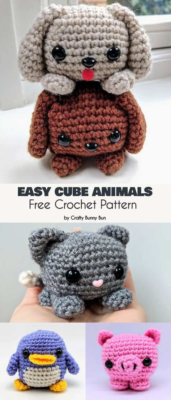 Easy Cube Animals Free Crochet Pattern #amigurumifreepattern
