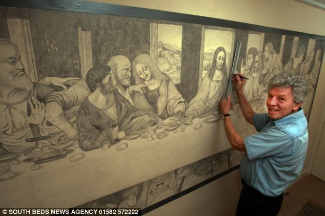 Masterpiece: Ray Charman With His Drawing Of The Leonardo Da Vinciu0027s The Last  Supper Part 48