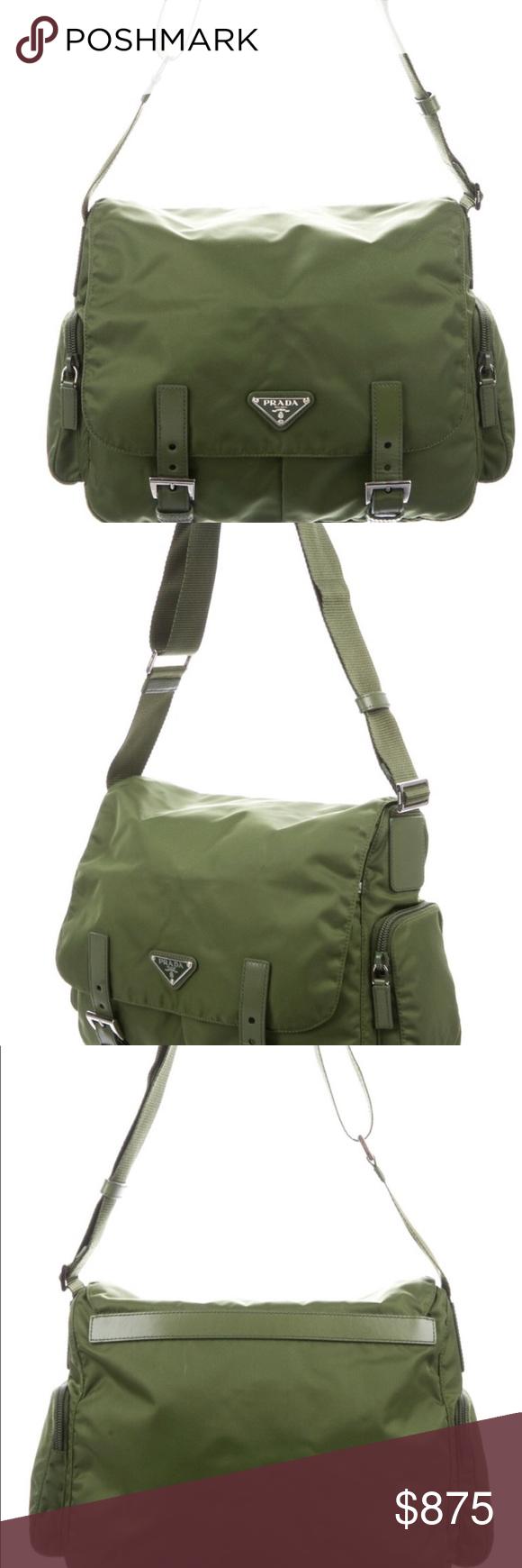 Photo of NWOT Authentic Prada messenger bag in army green Prada nylon messenger bag with …