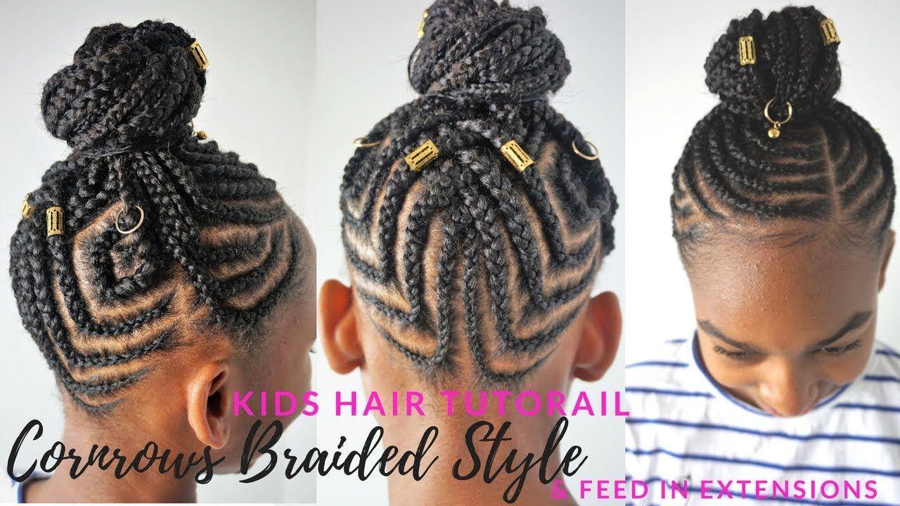 Kids Braided Hairstyles Tutorial Feed In Cornrows Ponytail Youtube Kids Braided Hairstyles Kids Hairstyles Hair Styles