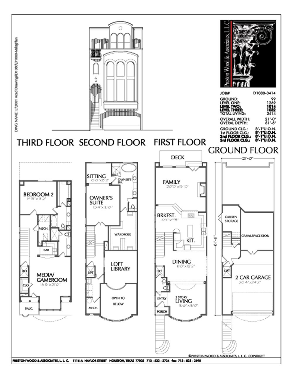 Duplex townhome plan d1080