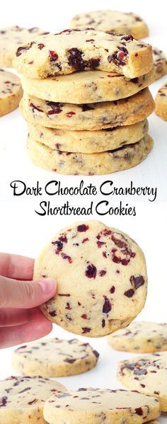 Chocolate Cranberry Shortbread Cookies - Sweetest Menu #sliceandbakecookieschristmas