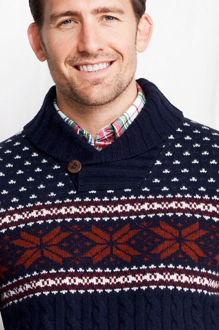 Men's Lambswool Fair Isle Shawl Collar Sweater from Lands' End ...