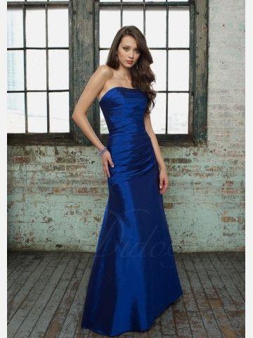 Draped A-line Strapless Floor-length Taffeta Sleeveless Bridesmaid Dress - Didobridal