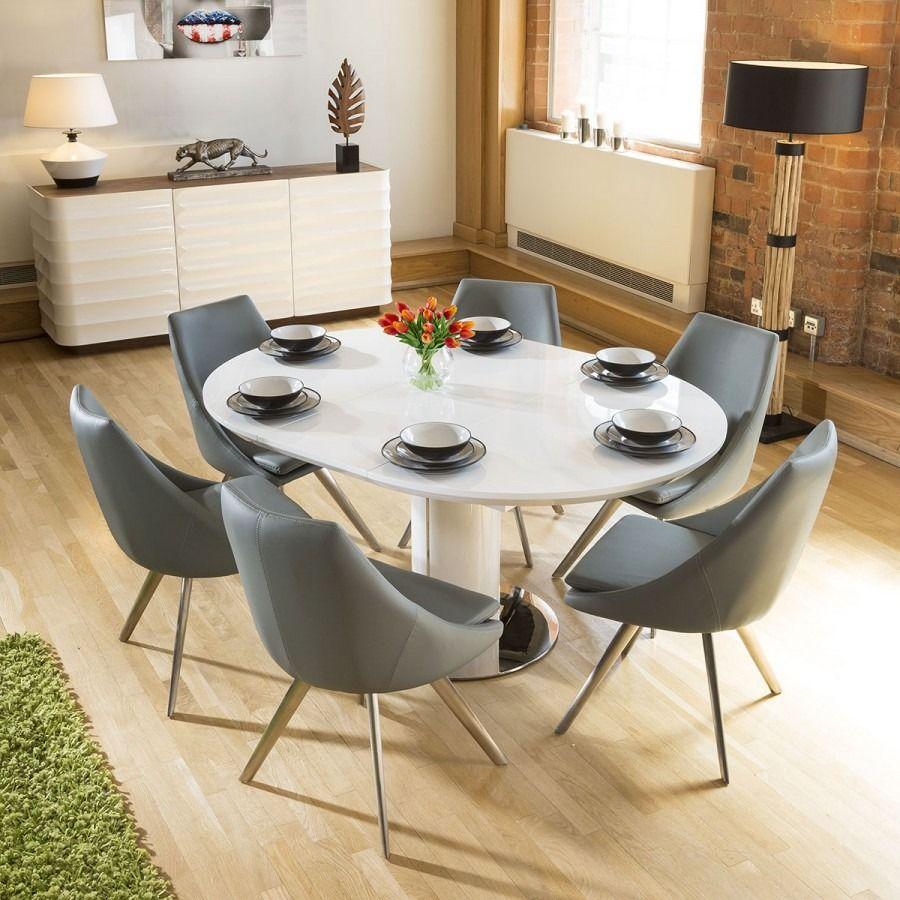Extending Round Oval Dining Set White Gloss Table 6 Medium Grey