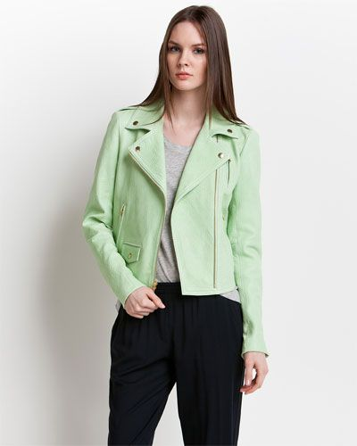 """Some of you have to get in on this: Theory """"Elenian.Juno"""" Light Green Leather Jacket"""
