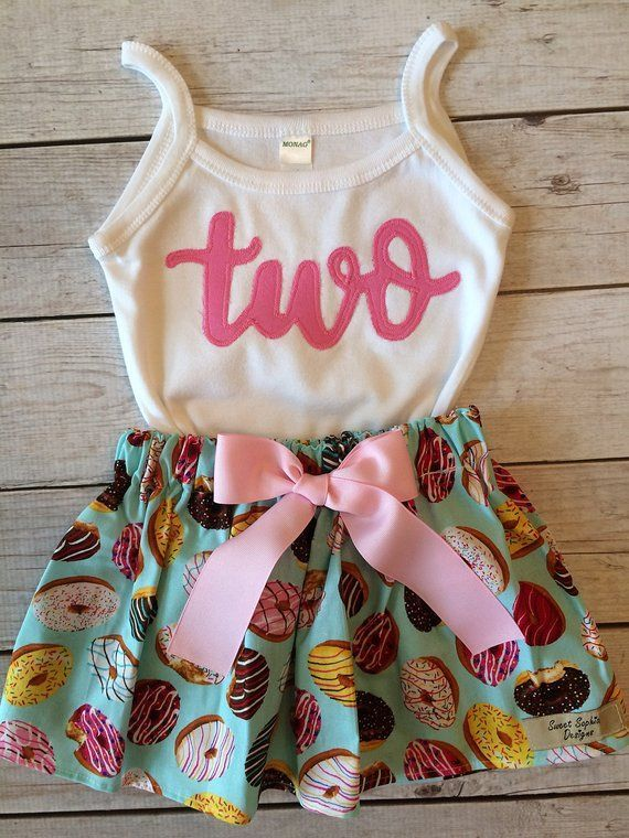 Two Sweet Donut Birthday Outfit, Sweet One Donut Birthday Skirt Set, Second Birthday Outfit with Donuts, Little Girls Donut Applique
