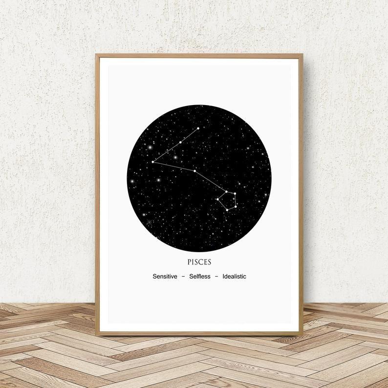 Pisces Zodiac Print Constellation Pisces Astrology Wall Art Etsy