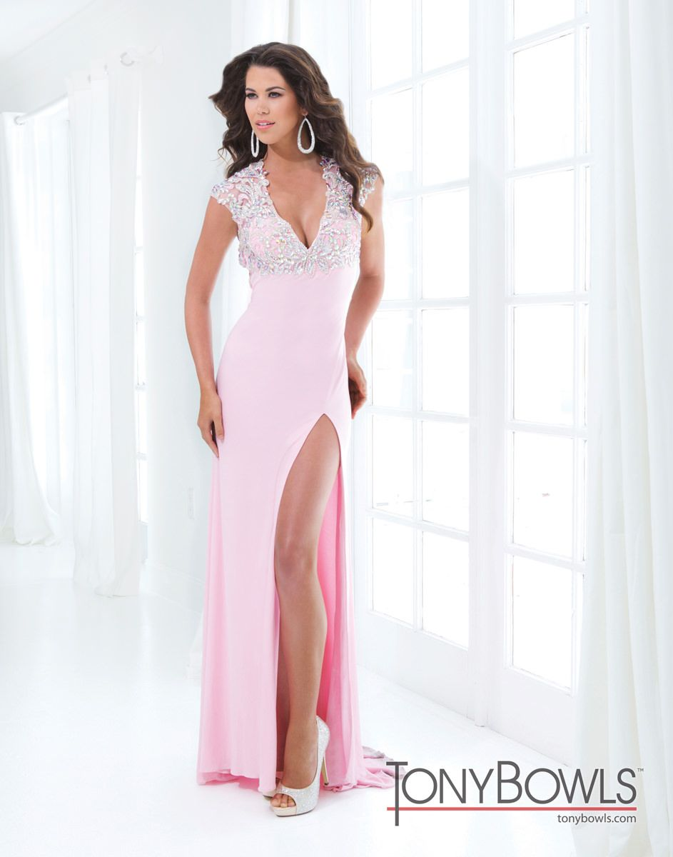 Tony Bowls Le Gala 114547 Sheer V-Neck Gown | Prom | Pinterest ...