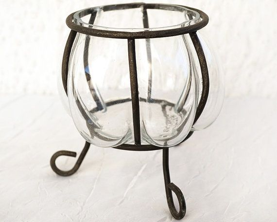 Caged Blown Glass And Wrought Iron, Rustic Vase, Rustic Kitchen Decor,  Caged Glass Bowl, Ethnic Bohemian Nature Display, Candle Holder