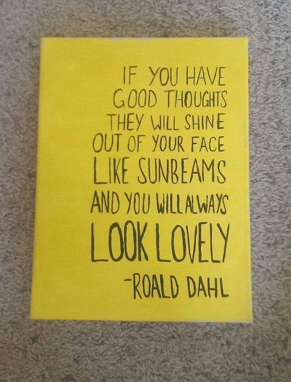 Roald Dahl, Sunbeams and Happiness, Canvas Quote Art, Wall Hanging ...