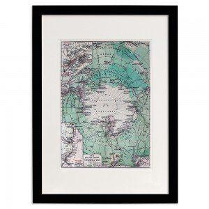 South Pole Washi Paper Print In Black Frame