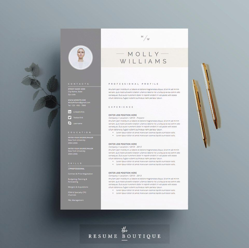 Resume Template and Cover Letter Template for Word DIY Printable