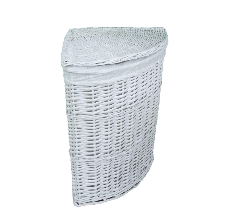 White Lidded Wicker Corner Linen Laundry Bin Storage Basket With Cotton Liner 12