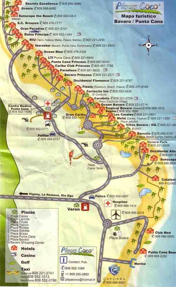 This detailed punta cana tourist map shows the location of for Vacations to punta cana